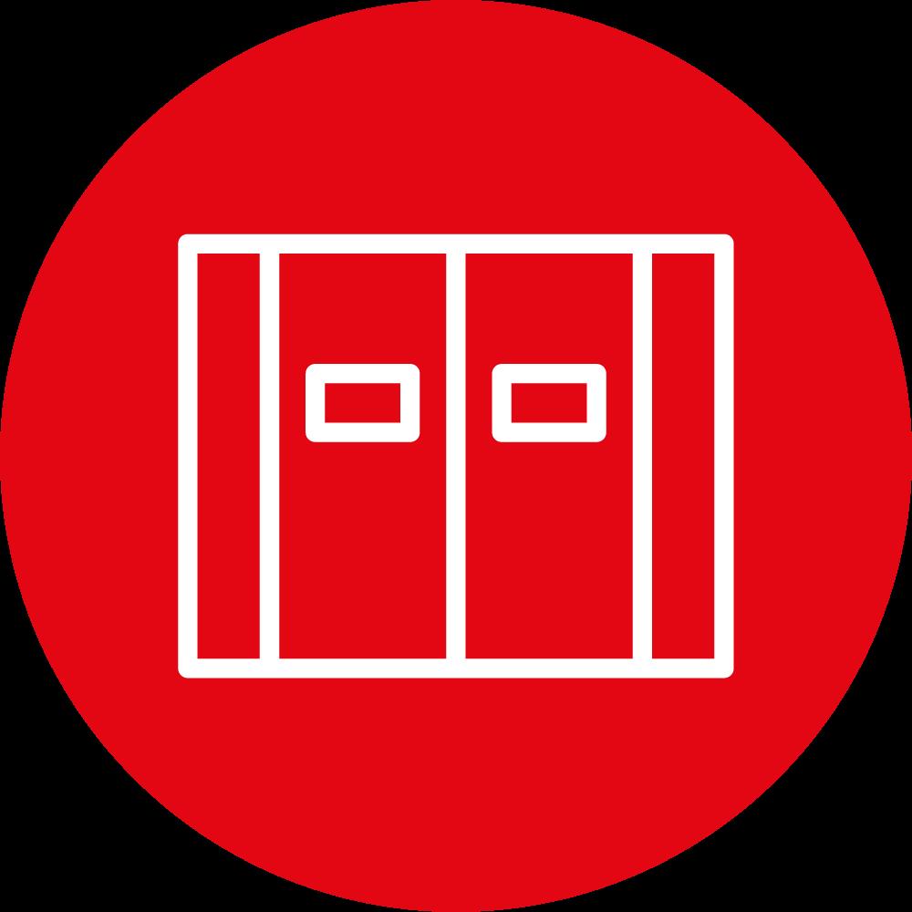 icona rossa, porta automatica a battente