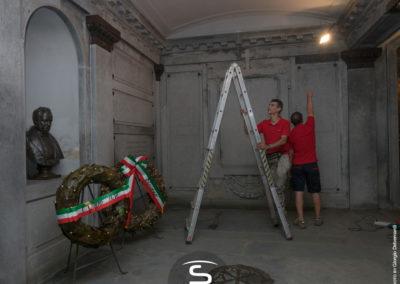 Castello di Santena - lavori illuminotecnici in corso nella Tomba di Camillo Benso Conte di Cavour