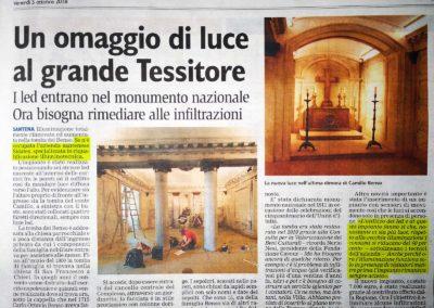 Articolo sul Corriere di Chieri, un omaggio di luce al grande tessitore. Tomba di Cavour, Santena